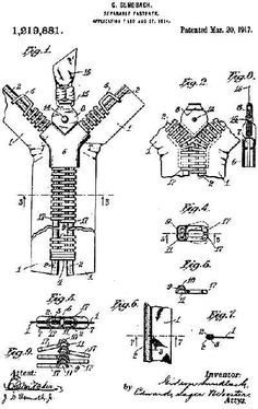 The original 1917 patent for the Separable Fastener