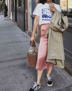 How do you style your pink blush silk slip skir. try Outfit ideas for this summer