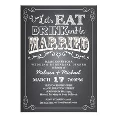 Invite family and friends to a lovely and trendy wedding rehearsal dinner with this rustic faux-chalkboard invitation. In popular chalkboard style with fun typography and decorative swirls and curls, this whimsical design sets the stage for a great evening of celebrating the bride and groom to be!  Fully customizable. #personalizedweddinggifts #personalizedrehearsaldinner bezazzled.com ❤ http://customprintpersonalizedweddingrehearsaldinnerinvitationcards.com