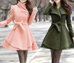 Pink Long  Dress Spring Trench Coats Wool Cape Coat Skirt Autumn Winter Wool Dress Cape Jacket-WH073 M,L,XL,XXL on Etsy, $69.99