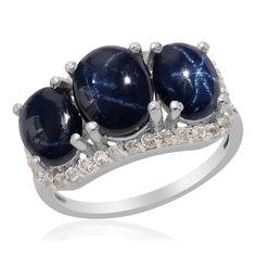 Thai Blue Star Sapphire and White Topaz Ring