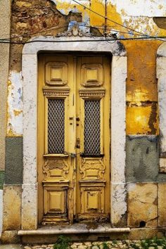 Mustard Yellow Gold, ocre, white - door and entrance