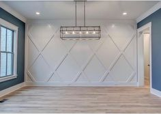 Dining accent wall - a contemporary take on wainscoating? Diamond pattern, monochrome, subtle focal point closing in the staircase and extending the accent wall Home Design, Interior Design, Interior Ideas, Design Ideas, Interior Trim, Home Renovation, Home Remodeling, Wall Treatments, Home Projects