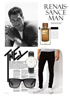 """""""Hey you!"""" by almir-camdzic ❤ liked on Polyvore featuring Dr. Denim, Dolce&Gabbana, Ray-Ban, Daniel Wellington, men's fashion and menswear"""