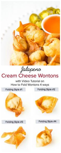 Super crispy wontons with smooth cream cheese filling with a kick. Homemade version of your favorite take-out appetizer with the same irresistibly delicious and addicting taste! Plus, a video tutorial on how to fold wontons 4 different ways.