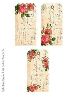 Shabby French Rose Freebie Tags for Shabby Blogs By FPTFY | Flickr - Photo Sharing!