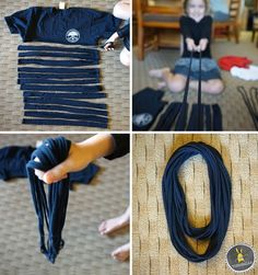 This easy, no-sew t-shirt scarf comes together in a matter of minutes. It& all about the stretching., The No-Sew T-Shirt Scarf This easy, no-sew t-shirt scarf comes together in a matter of minutes. It& all about the stretching. Tee Shirt Crafts, T Shirt Diy, Sewing Shirts, Sewing Clothes, Diy Fashion Tshirt, Tshirt Garn, Pinterest Crochet, Scarf Shirt, Shirt Scarves