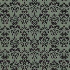 Green & Charcoal Damask :: Damask :: Chic Shelf Paper: 400+ Stylish Contact Paper Designs