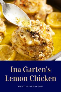 Ina Garten's Lemon Chicken From the Barefoot Contessa herself, Ina Garten's Lemon Chicken is juicy, flavorful, and oh so easy! Top Recipes, Cooking Recipes, Healthy Recipes, Weeknight Recipes, Disney Recipes, Wing Recipes, Disney Food, Recipies, Ina Garten Lemon Chicken