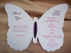 Butterfly Shapes To Cut Out | Custom Butterfly Shaped Wedding Program | www.DesignsbyGinny.com/blog
