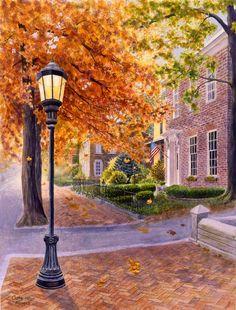 City scene landscape watercolor print of original by CathyHillegas, $20.00