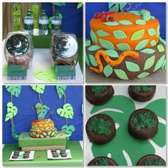 Jungle themed party decorations...  Perfect to have with our Jungle/Safari Inflatable Bounce House!