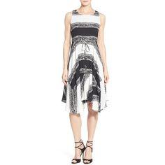 Women's Ivanka Trump Print Georgette Handkerchief Hem Dress ($128) ❤ liked on Polyvore featuring dresses, handkerchief hem dress, sleeveless dress, sleeveless a line dress, white dress and color block dress