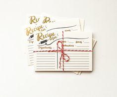 Caligrafía de receta tarjetas pack 10 hoja de oro por littlelow