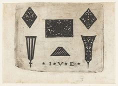 Anonymous | Twee ruiten met arabesken, Anonymous, Monogrammist IVE (Nederlanden), 1500 - 1600 | Linksboven en rechtsboven een ruit met arabesken. Middenonder een gespikkeld trapeziumvormig ornament. De decoraties zijn wit op een zwart fond. Eén van 3 bladen, elk met zes ornamenten.