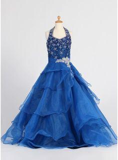 A-Line/Princess Halter Floor-length Ruffles Sequins Rhinestone Organza Sleeveless Flower Girl Dress Flower Girl Dress