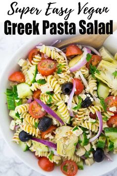 This vegan Greek pasta salad is the perfect summer recipe! It is a great picnic recipe and it also makes a great grilling side. Find more vegan recipes at veganheaven.org! #vegan #summerrecipes #pasta #pastasalad