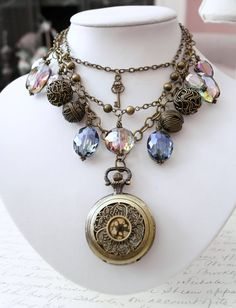 Feminine Steampunk Necklace  OOAK Isabella by SahetahsJewelry, $198.00