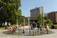 Philadelphia's Wissahickon Valley is the muse for Sister Cities Park, where a miniature creek, wading pool (with lifeguard), green-roofed cafe and interactive bluestone fountain are the main hot-weather attractions. (Photo courtesy Center City District)