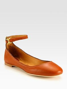 Chloé - Leather Ballet Flats, contrast stitching and buckled ankle strap, in tan, $495