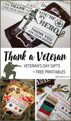 Need the perfect way to show your appreciation on Veteran's Day? Grab your service member's favorite candy and these printables and spread the love.
