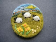 Unique Hand Made Needle Felted Brooch - 'Spring!' by Tracey Dunn easter card or gift brooch design with sheep and daffodils