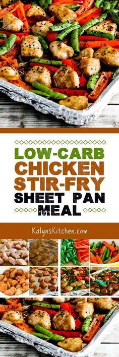 Low-Carb Chicken Stir-Fry Sheet Pan Meal found on KalynsKitchen.com
