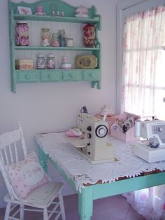 Sewing table, sewing nook, sewing room decor, my sewing room, sewing