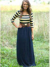 Trendy Scoop Neck Sleeve Striped Maxi Dress For Women Sexy Maxi Dress, Maxi Dress With Sleeves, Navy Dress, Navy Maxi, Sleeve Dresses, Dress Long, Sheath Dress, Maxis, Vestidos Online