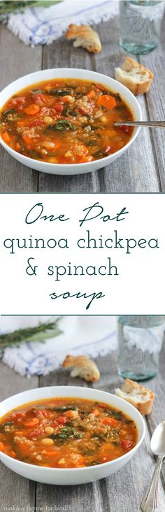 Quinoa Chickpea and Spinach Soup- a comforting one pot meal full of veggies and healthy protein! #cleaneating #vegetarian #glutenfree