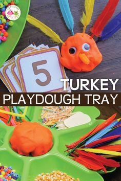 Use this material list to create an easy turkey play dough activity for your kids. They will love this fun Thanksgiving theme invitation to play. Fall Preschool Activities, Thanksgiving Activities For Kids, Playdough Activities, Holiday Activities, Thanksgiving Crafts, Preschool Fall Theme, November Preschool Themes, Sorting Activities, Turkey Handprint