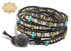 tutorials for Leather Wrap Bracelet Pattern | completed bracelet with four wraps.