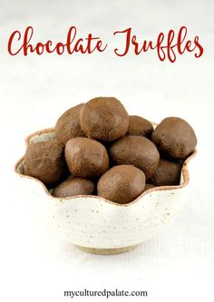 With only 4 ingredients and made in 1 bowl, Chocolate Truffles are not only delicious they are super easy!