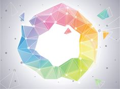 Rainbow Circle Abstract Polygonal Background -   Polygonal circle with interconnecting dots abstract vector background – EPS.                              - https://www.welovesolo.com/rainbow-circle-abstract-polygonal-background/