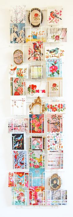 Display Postcards. I'm attempting to send a postcard a week this year as a way to spread joy via snail mail ~ which everyone loves getting!