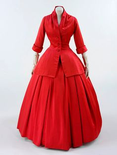 Red QUeen? --Dior 'Zemire; La Ligne H' Ensemble - FW 1954 - House of Dior - Design by Christian Dior