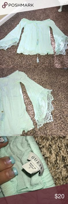 Women's blouse✨ Women's off the shoulder blouse very cute worn once love the Color mint green ✨✨✨ in excellent condition‼️‼️ Guess Tops Blouses