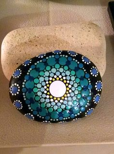Beach Stone~ Turquoise to Blue Ombre Progression Rings~ Dot Art Mandala~ Hand Painted by Miranda Pitrone~ ~Painted Rocks~Fairy Gareden Decor