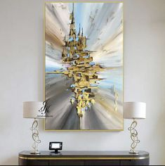 Abstract Acrylic Painting Gold Leaf Art Canvas Abstract Painting Modern Art Original Painting Textured Painting Canvas by Julia Kotenko by JuliaKotenkoArt on Etsy