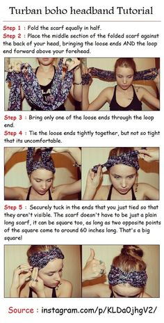 Turban boho headband Tutorial - hair-sublime.com WHERE HAS THIS BEEN ALL MY LIFE LIKE REALLY.