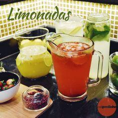 Limonadas com xarope de alecrim, hortelã, Pink lemonade e limonada com maracujá