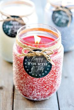 DIY Glitter Candles - Patriotic Printable Tags