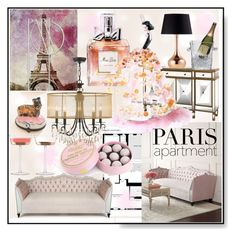 """Paris Apartment * Pink * Living Room (Pampered, very sweet and very spoiled)"" by calamity-jane-always ❤ liked on Polyvore featuring interior, interiors, interior design, home, home decor, interior decorating, Christian Dior, Haute House, Chanel and Charbonnel et Walker"