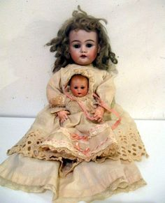 1800 Antique German Bisque Simon and Halbig Doll All Original WITH Bisque BABY by VintageChicPleasures, $959.00