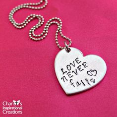 New to CICinspireme on Etsy: Love never fails hand stamped heart necklace (15.95 USD)