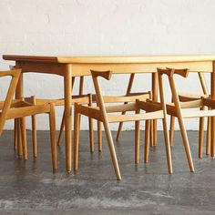 A set of six oak Kai Kristiansen chair model restored & ready for upholstery selection. Extendable oak dining table by Slagelse Møbelfabrik. Now available to view at Fitzroy ✌
