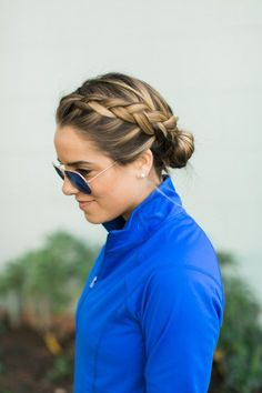 Double French braids will keep your hair locked in place while you exercise, and look just as great after a good sweat sesh. // #Hair #Fitness