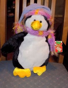 "14"" DANDEE Soft Plush PENGUIN w/ Purple HAT Pink YELLOW Sparkle Scarf  18 #Dandee"