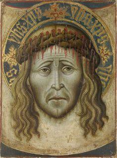 Anonymous | The Sudarium of Saint Veronica, Anonymous, c. 1450 | De beeltenis van Christus op de zweetdoek van de heilige Veronica.