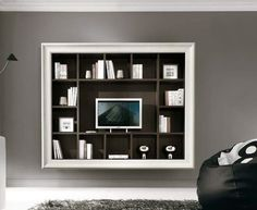 Parete Attrezzata porta TV stile Quadro in 100% legno. Decapata